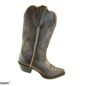 JUSTIN FARM & RANCH BROWN LEATHER SNIP TOE COWGIRL